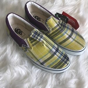 Vans Shoes - Limited Edition Vans slip on plaid US 7 yellow